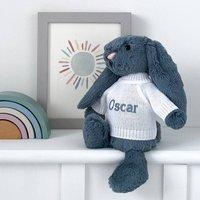 Personalised Dusky Blue Bashful Bunny Soft Toy