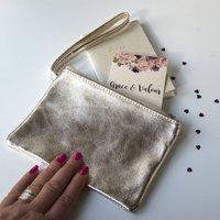 Italian Leather Clutch Purses Metallic Tones