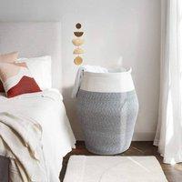 Large Laundry Basket Tall Storage Cotton Rope Hamper