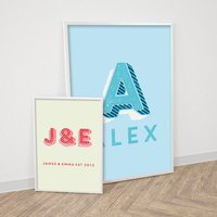 Personalised Carnival Letters Print, Pink/Light Blue/Blue