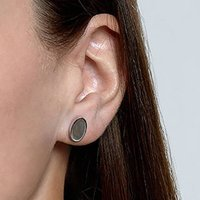 Sterling Silver Ovaline Earrings In Matte And Shiny, Silver