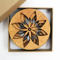 Drinks Coasters With Poinsettia Design, Set Of Four