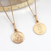 Personalised 9ct Gold Mini St Christopher And Chain, Gold