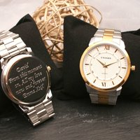 Gents Engraved Wrist Watch Silver And Gold, Silver