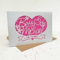 Heart And Scroll Paper Cut Card, Black/Blue/Cream