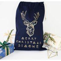 Personalised Reindeer Navy Christmas Sack