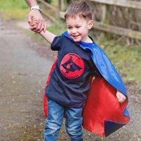 Personalised Children's Superhero T Shirt, White/Aqua/Blue