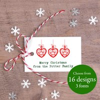 Christmas Gift Tags With Candy Striped String, Red/Green/Gold