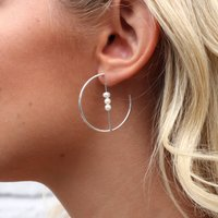 Sterling Silver And Pearl Earrings, Silver