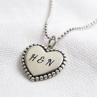 Personalised Sterling Vintage Style Heart Necklace