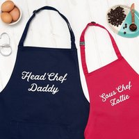 Personalised Head Chef And Sous Chef Apron Set