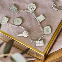 Personalised Sterling Silver Travel Charm Bracelet, Silver