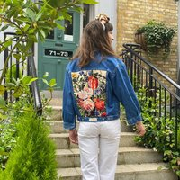 Summer Bouquet Vintage Tapestry Upcycled Denim Jacket