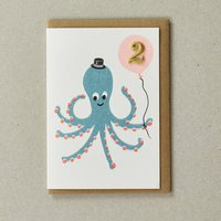 Handmade Octopus 2nd Birthday Card