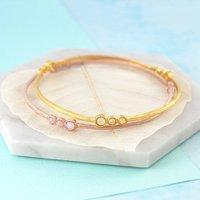 Gold Triple Stone Opal Birthstone Bangle, Gold