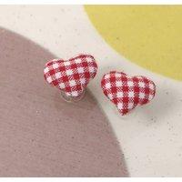 Red Gingham Heart Earrings