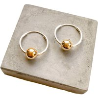 Large Silver Hoops With A Single 9ct Gold Bead, Silver