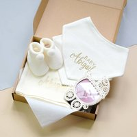 Personalised Ivory Gift Set For Newborn Baby