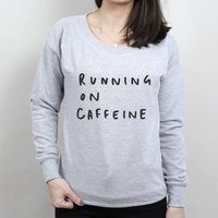 Running On Caffeine Sweater, Grey/Black