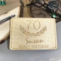 Personalised 70th Birthday Wooden Postcard