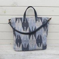 Fair Trade Chunky Dhaka Cotton Handbag Leather Strap
