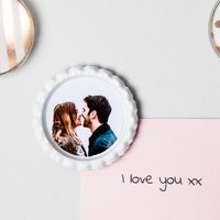 Personalised Photo Magnet Gift, Silver/White/Blue