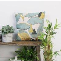 Teal Palm Print Cushion