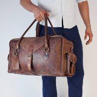 Oxley Personalised Leather Weekend Bag Cognac Wax