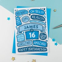 16th Omg Birthday Personalised Illustrated Card Blue, Blue