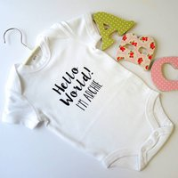 Personalised Hello World New Baby Vest, Black/Pink