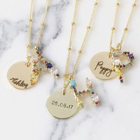 Personalised Rainbow Crystal Initial Necklace