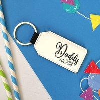 Personalised Daddy Est Faux Leather Keyring