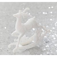 Set Of White Rocking Reindeer Christmas Decorations