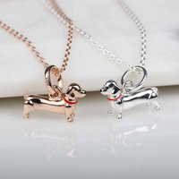 Silver Or Rose Gold Dachshund Pendant, Silver