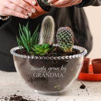 Home Grown Personalised Beaded Glass Planter Bowl