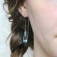 9ct Gold Sky Blue Topaz Threader Earrings, Gold