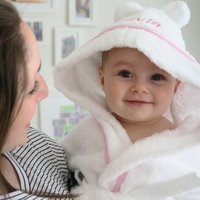 Personalised Hooded Dressing Gown Edged In Pink Gingham
