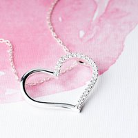 Sparkle Heart Sterling Silver Necklace, Silver