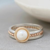 Silver And 9ct Gold Pearl Stacking Ring Set, Silver