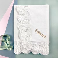Personalised Traditional Royal Knitted Baby Blanket