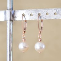 Rose Gold Ball Lever Back Earrings, Gold