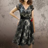 Corsage Detail Lace Dress In Black