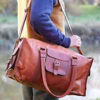 Personalised Handmade Leather Weekend Holdall