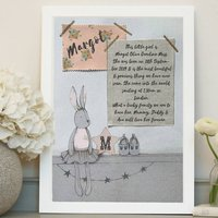 Personalised Baby Name Print With Fabric Swatches