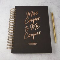 Personalised Hen Do Book Miss To Mrs, Amethyst/Silver/Copper