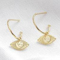 Estella Bartlett Gold Eye Charm Hoop Earrings, Gold