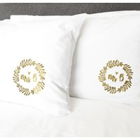 Mr And Mrs Personalised Pillow Cases, Gold/Silver/Bronze
