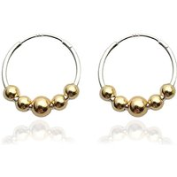 Silver Hoops With Five 9 K Gold Beads, Silver
