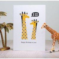 Giraffe Second Birthday Card Age Two