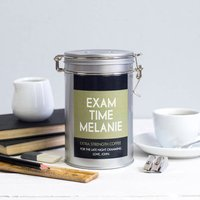 Personalised Coffee Gift For Exams In Tin, Pale Pink/Pink/Blue